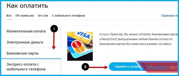 оплатить триколор банковской картой через интернет
